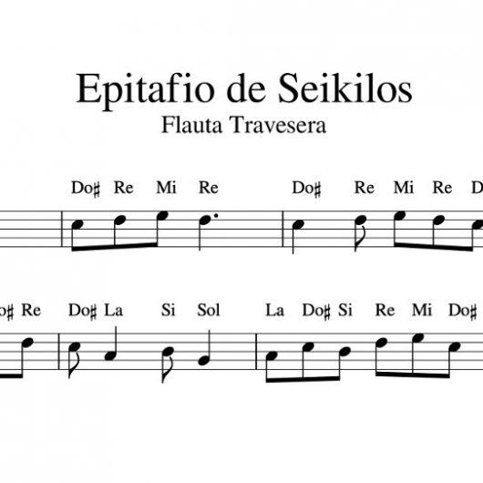 Partitura Epitafio de Seikilos para flauta travesera con notas