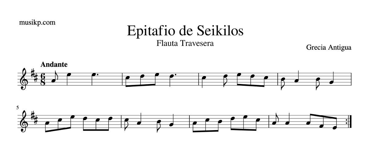 Partitura Epitafio de Seikilos para flauta travesera sin notas