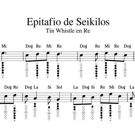 Epitafio de Seikilos para Tin Whistle en Re con notas y diagramas