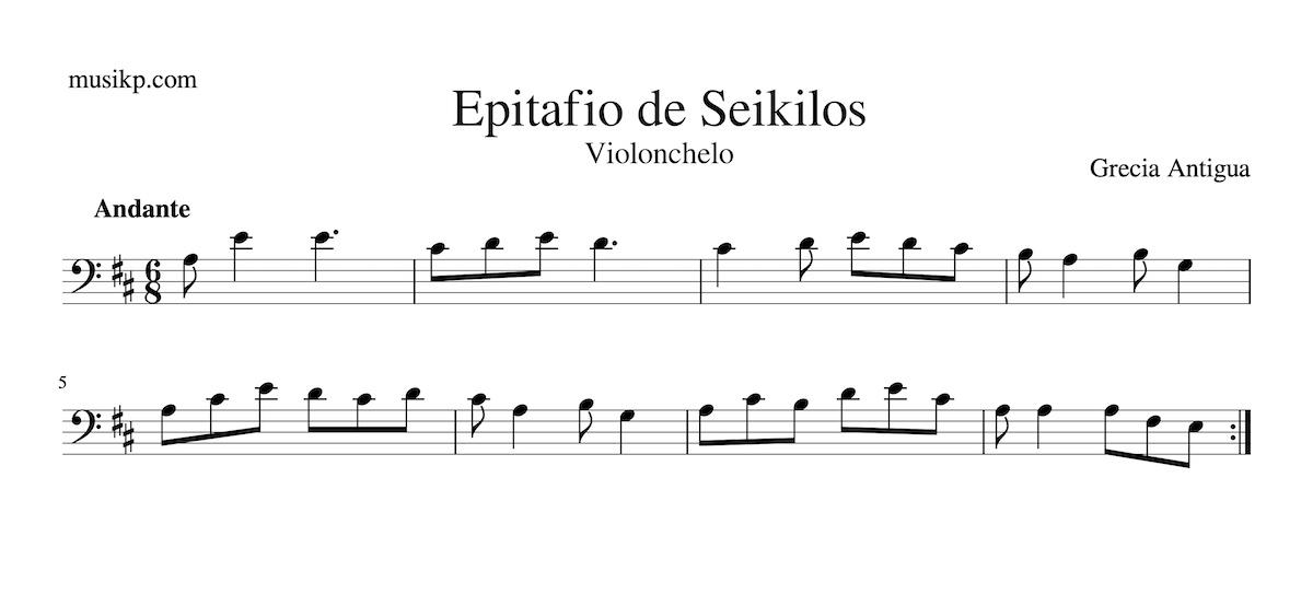 Epitafio de Seikilos - partitura para violonchelo