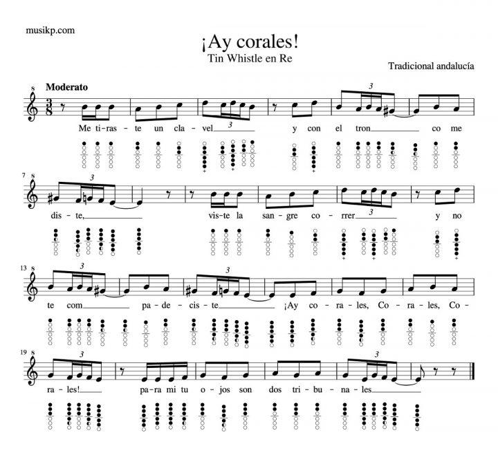 Ay Corales - partitura Tin Whistle en Re con notas y diagramas digitación