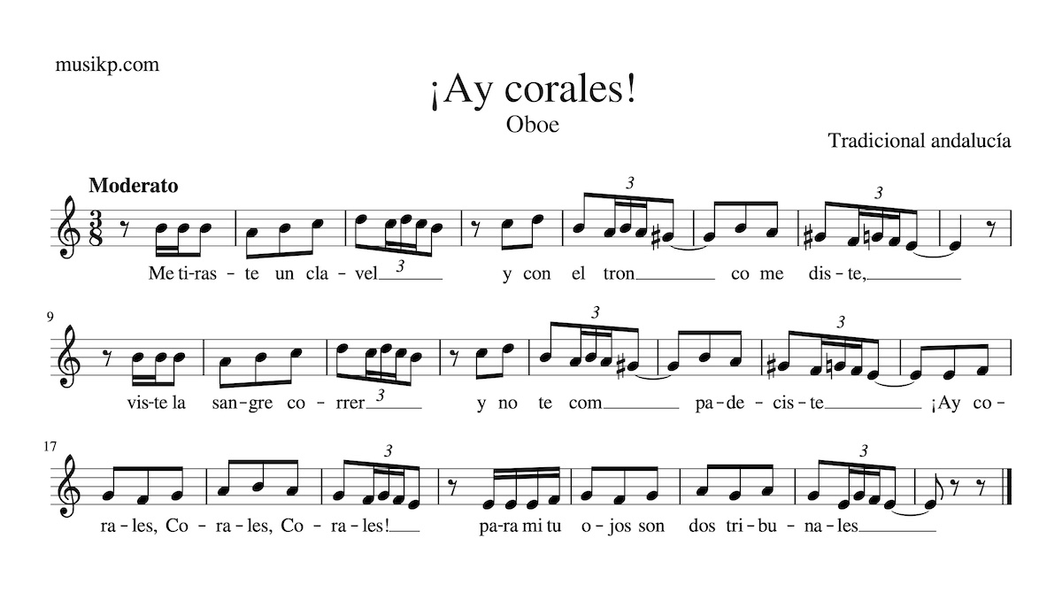 ¡Ay Corales! - Partitura para Oboe