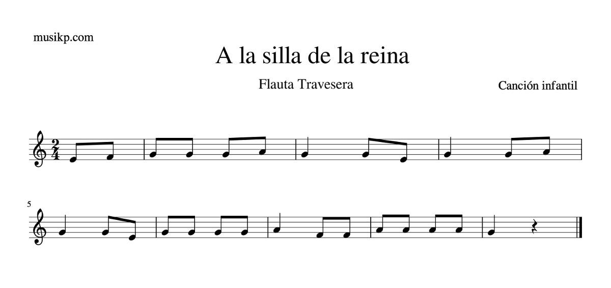 A la silla de la reina - partitura flauta travesera