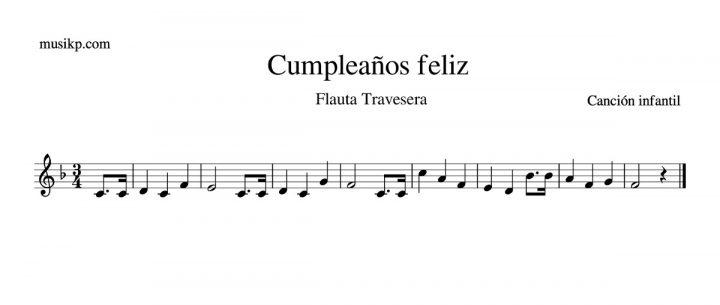 Cumpleaños feliz - partitura flauta travesera