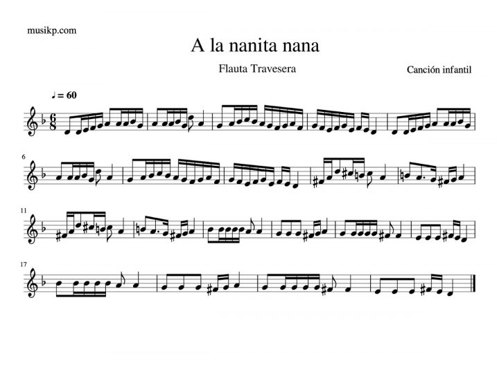 A la nanita nana - partitura flauta travesera