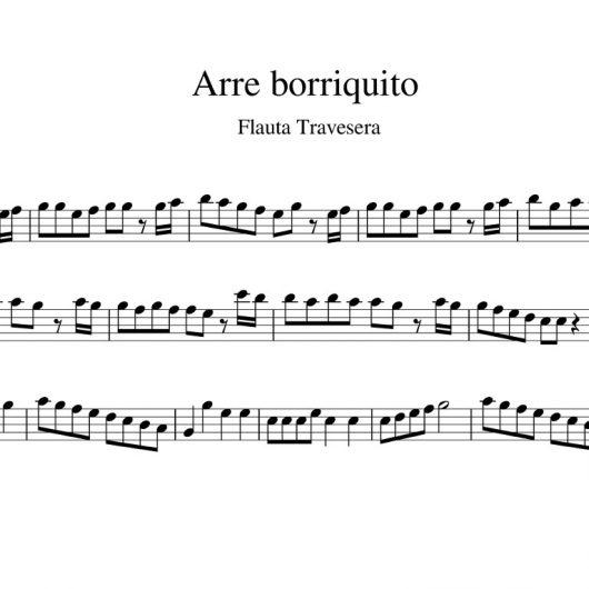 Arre borriquito - partitura flauta travesera con notas