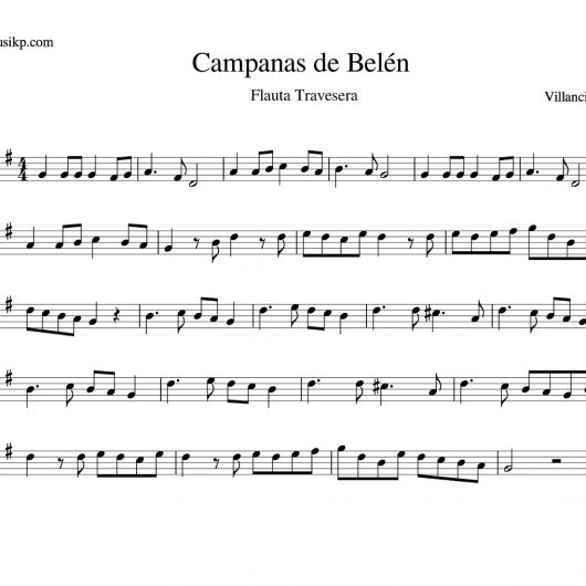 Campanas de Belén - Partitura flauta travesera