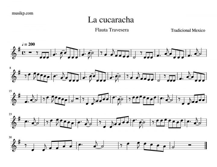 La cucaracha - Partitura flauta travesera