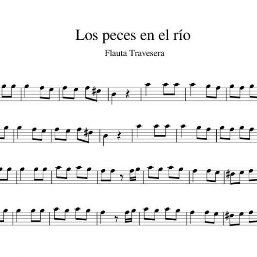 Los peces en el río - partitura flauta travesera