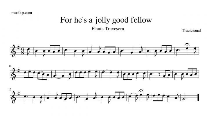 For he's a jolly good fellow - partitura para flauta travesera