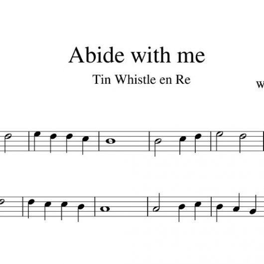 Abide with me - partitura para Tin Whistle en Re