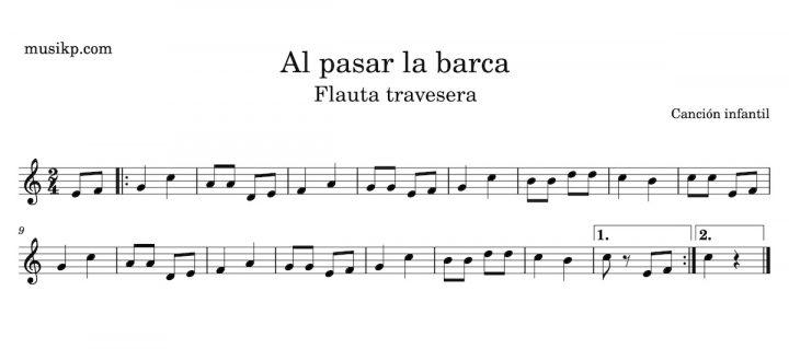 Al pasar la barca - partitura para flauta travesera