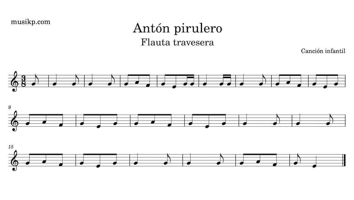 Antón pirulero - partitura para flauta travesera