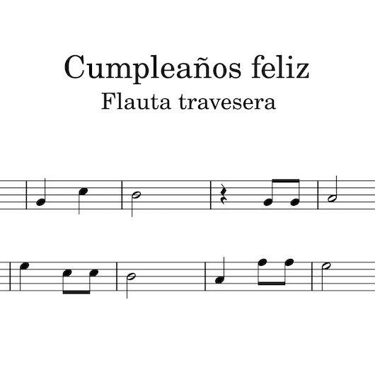 Cumpleaños feliz - partitura para flauta travesera
