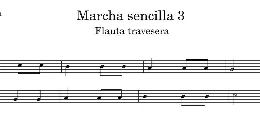 Marcha sencilla 3. Partitura Flauta Travesera