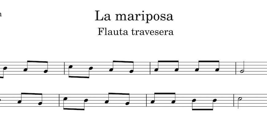 La mariposa. Partitura Flauta Travesera