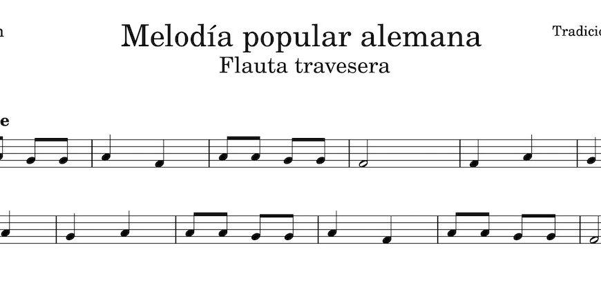 Melodía popular alemana. Partitura Flauta Travesera