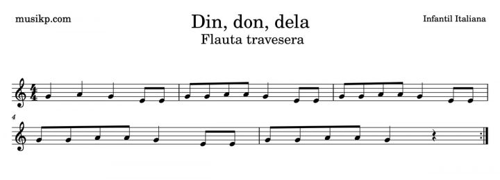 Din, don, dela - Partitura flauta travesera