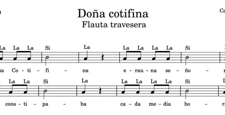 Doña Cotifina - Partitura para flauta travesera con notas