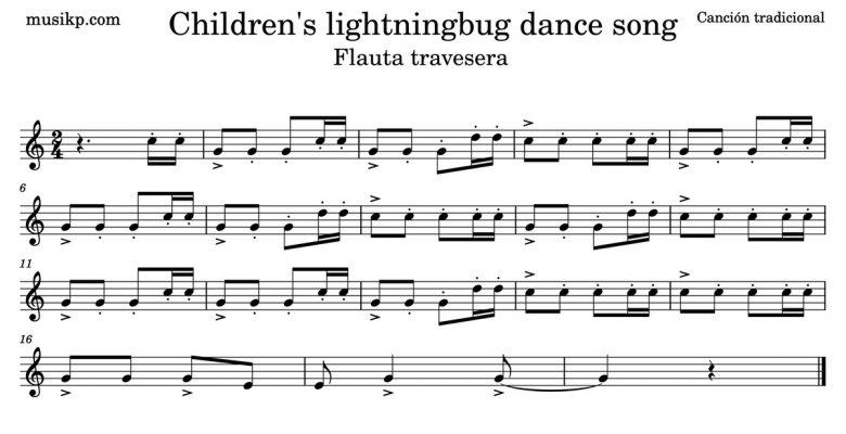 Children's lightningbug dance song - partitura para flauta travesera